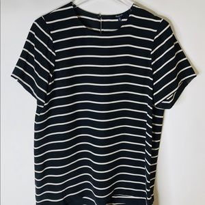 Madewell Silk Black/White Striped Blouse